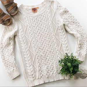 Tory Burch Ivory Cable Knit Sweater Crew Cotton M